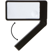 Magnifying Glass--Lighted magnifier for reading with bright LED lights, folding handle--easy to store/carry. Rectangular lens- best for reading. Large 2.5X lens with 4X bifocal insert. Carrying case.
