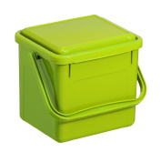 Rotho MyDecoBox 1770505519 Kitchen Compost Bin, Waste Bin Plastic with Geruchsdichtem Cover in Light Green Biomülle Bucket with 4.5 litre capacity, 21 x 20 x 18 cm Plastic Compost Caddy