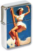 Anchors Awow Pin-up Girl Flip Top Lighter in a Gift Tin