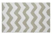 Jean Pierre Reversible Cotton Plush Zigzag 50cm . x 90cm . Bath Mat in Ivory