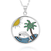 Sterling Silver Rhodium Plated Cubic Zirconia Dolphin, Palm Tree and Sun Pendant Necklace, 18+5.1cm Ext
