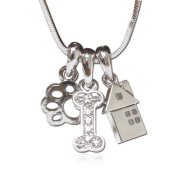 Lola Bella Gifts Crystal Detail Dog Lover Paw Bone House Charm Pendant Necklace with Gift Box