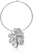 "Robert Lee Morris ""Femme Petal"" Sculptural Flower Wire Collar Silver Pendant Necklace"