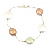 Freshwater Pearl Multi-Colour Coin Bracelet 14k Yellow Gold Spacer 18cm