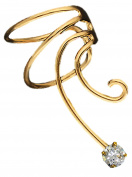 Cubic Zirconia Gold On Sterling Non-Pierced Right Wave Ear Cuff Earring