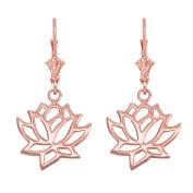 Lotus Flower Leverback Earrings in Polished 14k Rose Gold