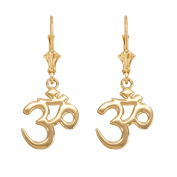 "Hindu Meditation Yoga ""Om"" (Aum) Leverback Earrings in 14k Yellow Gold"