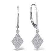 Diamond Drop Earrings in Rhodium Plated 10k White Gold
