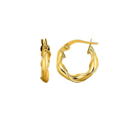 MCS Jewellery 14 Karat Yellow Gold Twisted Round Hoop Earrings