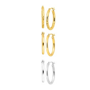Just Gold Set of Three Hoop Earrings in 14K Yellow & White Gold