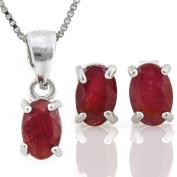1 3/4 CT Ruby Sterling Silver Earring & Pendant Set w/46cm Chain