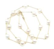 Freshwater Pearl White Round 46cm Necklace 14k Yellow Gold & Lobster Lock