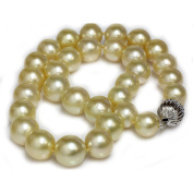 Golden Australian South Sea Pearl Necklace 14 - 12 mm AAA Quality 14K Solid 13 mm White Gold Clasp