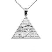 10k White Gold Detailed Eye of Horus Pyramid Pendant Necklace