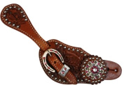Ladies Spur Strap with Acorn Tooling Accented with Blue Crystal Rhinestones - Medium