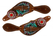 Showman Youth Size floral tooled spur straps with metallic paint and pink crystals