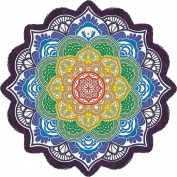 DueWork 160cm x 160cm Large Round Lotus Flower Retro Mandala Beach Towel Yoga Mat Tapestries Blanket Swimwear Cover Up