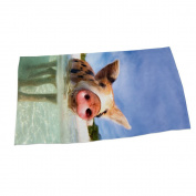 DueWork 140cm x 70cm Rectangle Pink Pig Print Bath Beach Towel Yoga Mat Blanket Swimwear Cover Up