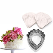 AK ART KITCHENWARE Peony Decoration Tool Leaf and Flower Tool Kit Stainless Steel Cookie Cutter Set Silicone Veining Mould Petal Sugar Flower Making Tool A327 & VM060