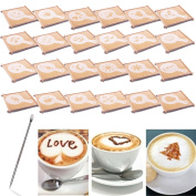 BIHRTC 24 Pcs 23 Designs Cappuccino Latte Barista Coffee Art Stencils Template Strew Pad Duster Spray Art + 1pc Coffee Latte Art Pen