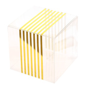 Ling's moment Clear Favour Boxes for Wedding Party Shower Gift Favour with Gold Stripes, 2x 5.1cm x 2Inch, Pack of 50