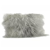 Fog Grey Colour Real Mongolian Lamb Fur Pillow, Filled. 30cm X 50cm Oblong