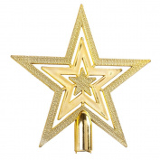 SHZONS Gold Glittered 5 Point Star Xmas Decoration Ornament Treetop Mini Star Christmas Tree Topper
