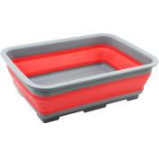 COM-FOUR 1 x Folding Washing Up Bowl Plastic, Red, 37.5 x 27.5 x 12 cm