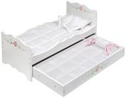 Badger Basket Rose Doll Bed with Trundle Toy, White by Badger Basket