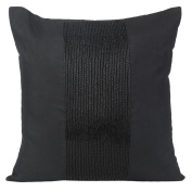 Black Decorative Pillow Cover - Beaded Black Throw Pillow Cover In Panel Embroidery - Accent Pillows For Couch & Bed (Black, 60cm X 60cm ) By The White Petals