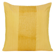 Yellow Standard Sham Cover - Beaded Yellow Sham Cover In Panel Embroidery - Accent Pillows For Couch & Bed (Yellow, 60cm x 60cm ) By The White Petals