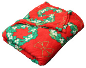 Luxury Soft Cosy Christmas Holiday Pattern Plush Snuggle Throw Soft Fleece Blanket Wreaths and Bows
