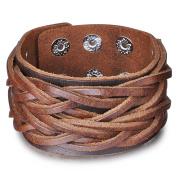 Infinite U Fashion Punk Rock 4cm Wide Genuine Leather Mens Cuff Bracelet Braided Wristband Bangle, Adjustable Size