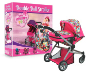 Deluxe Twin Doll Pram with Swivelling Wheels & Adjustable Handle and Free Carriage Bag