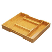 FURINNO Dapur Bamboo Expandable Drawer Organiser with Cutlery Storage, Natural