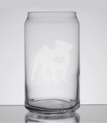 Pug Love 470ml Can Glass - Hand Etched - Made in the USA, Great for gifts