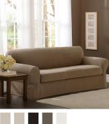 Maytex Pixel Stretch 2-Piece Sofa Slipcover, Sand
