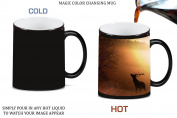 Elk Deer Silhouette in Morning Woods Mountain Picture Magic Colour Changing Ceramic Coffee Mug Tea Cup by Moonlight Printing