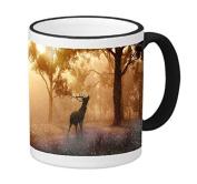 Elk Deer Silhouette in Morning Woods Picture 330ml Black Rim/Handle Ringer Ceramic Coffee Mug Tea Cup by Moonlight Printing