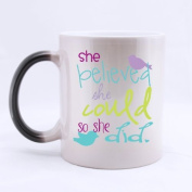 SCSF 330mls Ceramic Material She Believed She Could So She Did Coffee Mug Heat Reveal Changing Colour Hot Reactive Tea Cup