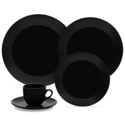 Oxford 20 Piece Black Collection Coup Dinnerware Set