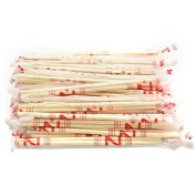 Ioffersuper 40 Pairs Chinese Disposable Bamboo Wooden Chopsticks Hashi Individually Wrapped