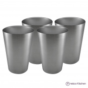 Pratico Kitchen Smooth Edge Stainless Steel Cups - Multi-purpose 470ml Pint Glasses - 4 Pack