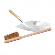 Lantelme 3160 2 Piece Set Metal Galvanised Dustpan Hand Brush with Wood Blade Hand Broom and Robust