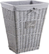 Home Cotton and Split Grey Wicker Laundry Basket