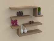 VE.ca-italy 4 Shelves in Wood design of High Quality Made In Italy In 9 Different Colours 4 cm Thickness, Angel Oak Rock