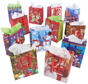 Prextex 12 Assorted 33cm Christmas Gift Bags Holiday Gift Bags Large size Assorted Bright Prints