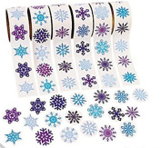 600 - Snowflake Stickers - 6 Assorted Rolls Scrapbook Crafts Christmas Stickers