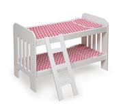 Badger Basket Doll Bunk Bed with Ladder - Chevron Print Toy, White/Pink by Badger Basket