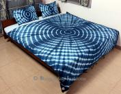 Bhagyoday Fashions- Indian Reversible Mandala Hand Printed Tie Dye Indigo Blue Shibori Kantha Quilt Double Bed Size Japuri Razai
